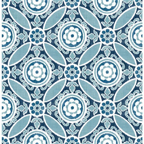 A-Street Prints Blue/Blue Maya Medallion Wallpaper 20.5-in