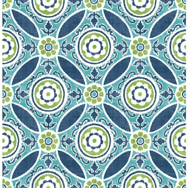 A-Street Prints Teal/Blue Maya Medallion Wallpaper 20.5-in