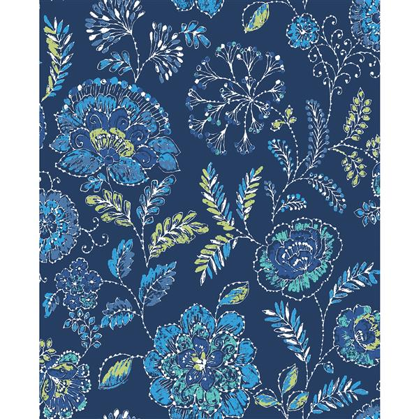A-Street Prints Navy Floral Non-Woven Paste The Wall Tropez Jacobean Wallpaper
