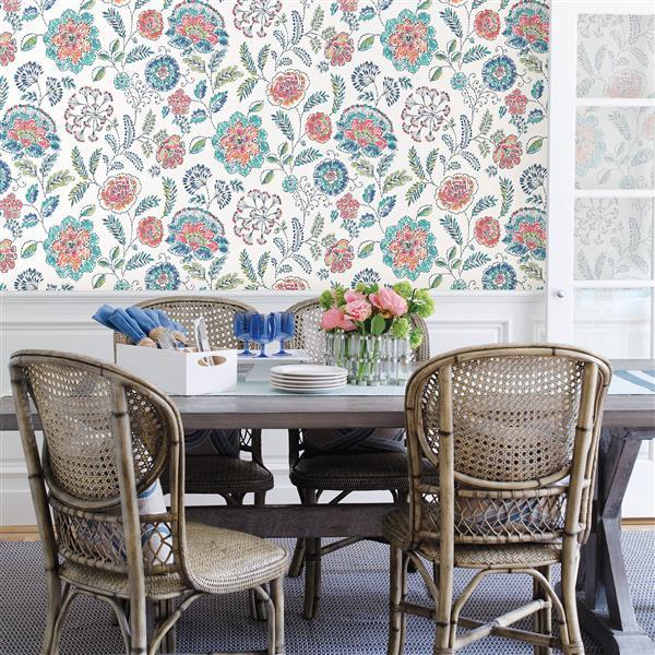 A-Street Prints Teal Floral Non-Woven Paste The Wall Tropez Jacobean Wallpaper