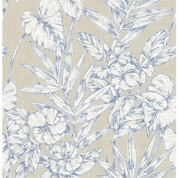 A-Street Prints Navy Floral Non-Woven Paste The Wall Fiji Floral Wallpaper