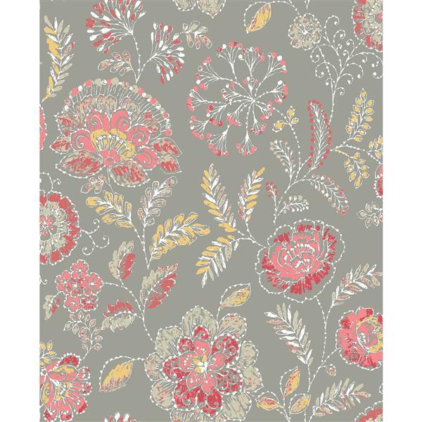 A-Street Prints Coral Floral Non-Woven Paste The Wall Tropez Jacobean Wallpaper