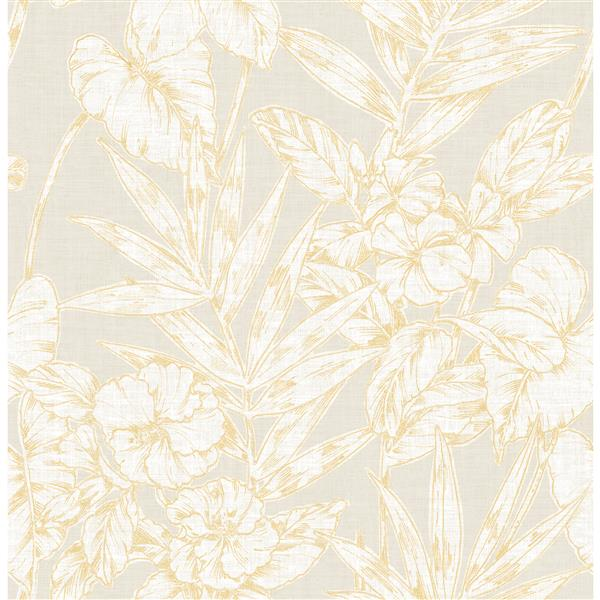 A-Street Prints Mustard Floral Non-Woven Paste The Wall Fiji Floral Wallpaper