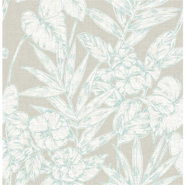 A-Street Prints Turquoise Floral Non-Woven Paste The Wall Fiji Floral Wallpaper