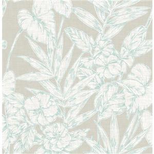 Papier peint « Fiji Floral », bleu