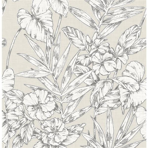 A-Street Prints Beige Floral Non-Woven Paste The Wall Fiji Floral Wallpaper