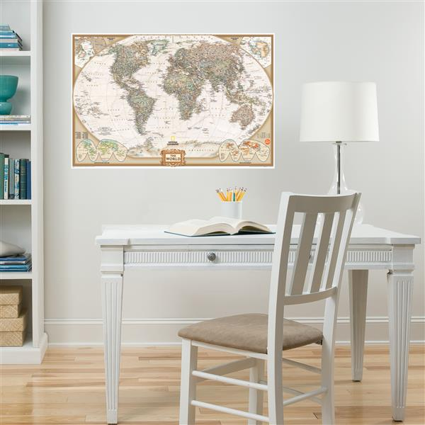 WallPops National Geographic World Dry Erase Map Decal