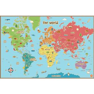 WallPops World Dry Erase Map Decal for Kids