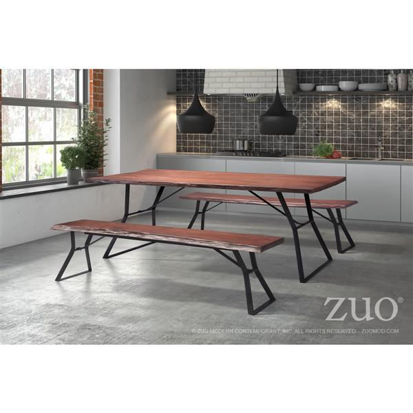 Zuo Modern Omaha Bench - 70-in x 15-in x 17.8-in - Oak Wood
