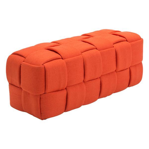 Banc en lin Checks de Zuo Modern, 51,2 po x 19,7 po, orange