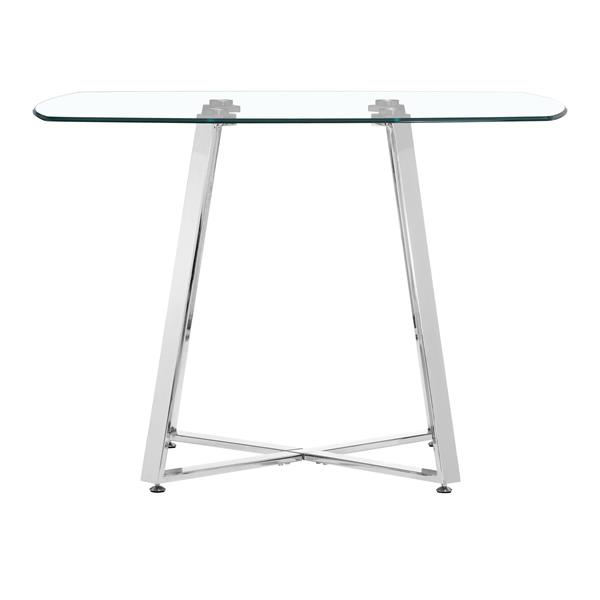Table de salle à manger en verre Lemon de Zuo Modern, 42 po x 29,5 po, structure chromée