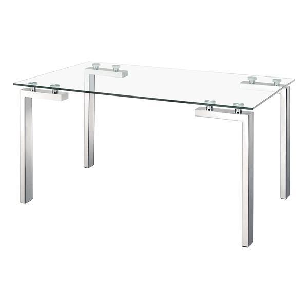 Table de salle à manger en verre Roca de Zuo Modern, 59 po x 30 po, structure chromée