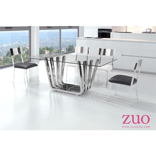 Zuo Modern Dining Table - 70.9-in x 29.5-in - Clear Glass - Chrome Frame