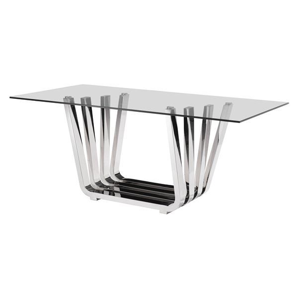 Table de salle à manger en verre de Zuo Modern, 70,9 po x 29,5 po, chrome