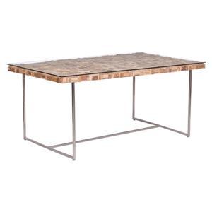 Table de salle à manger Collage de Zuo Modern, 63 po x 29,9 po, bois, strucrure en acier inoxydable