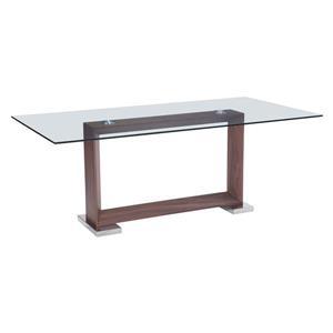Table de salle à manger rectangulaire Oasis de Zuo Modern, 78,7 po x 29,9 po, verre transparent
