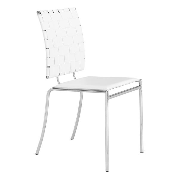 Zuo Modern Criss Cross Dining Chair - 17-in x 18-in - Faux Leather - White - Set of 4