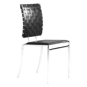 Chaise de salle à manger de Zuo Modern, 18 po x 17 po. simili-cuir, noir, ens. de 4