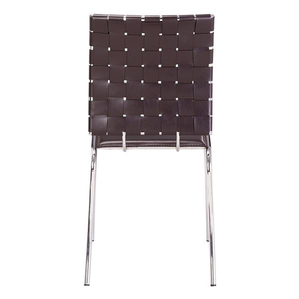 Zuo Modern Criss Cross Dining Chair - 18-in x 17-in - Faux Leather - Brown - Set of 4