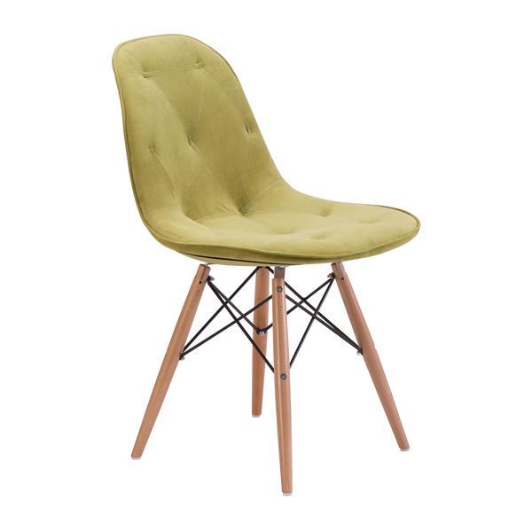 Chaise de salle à manger Probability de Zuo Modern, 19 po x 18,7 po, velours vert