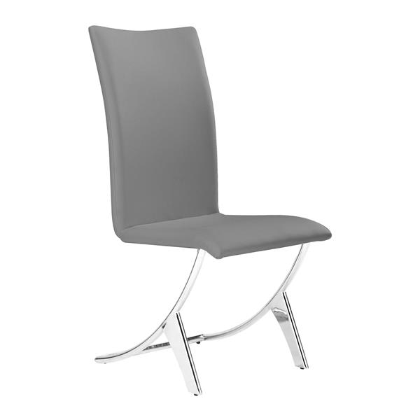Chaise de salle à manger Delfin de Zuo Modern, 17 po x 18 po, gris, ens. de 2