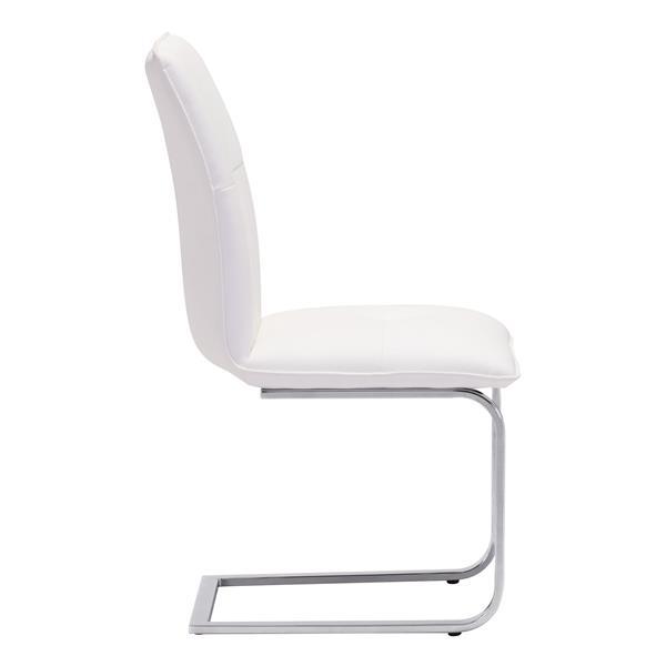 Chaise de salle à manger Anjou de Zuo Modern, 19,5 po x 17 po, simili-cuir, blanc, ens. de 2