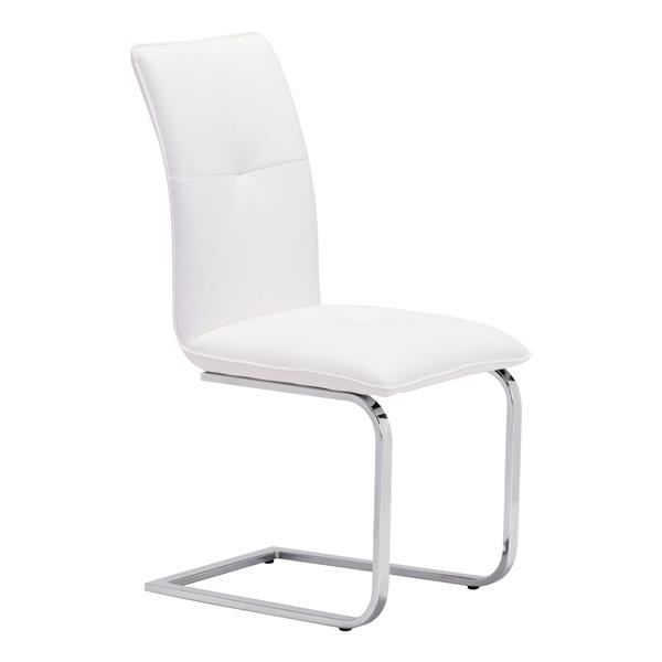 Zuo Modern Anjou Dining Chair - 19.5-in x 17-in - Faux Leather - White - Set of 2