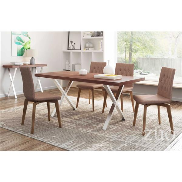 Zuo Modern Orebro Dining Chair - 18.9-in - Brown - Set of 2