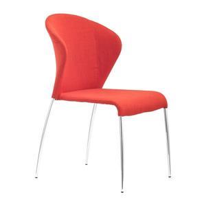 Chaise de salle à manger Ouly de Zuo Modern, 18,5 po, tissu, orange, ens. de 4