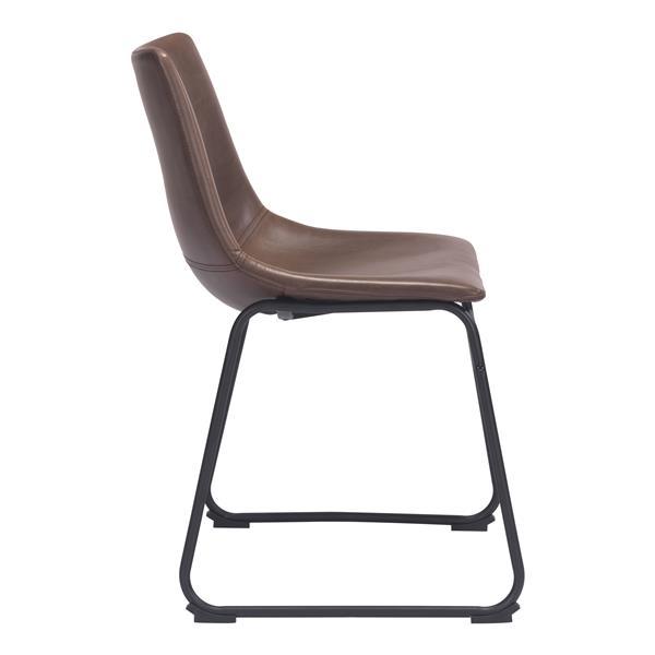 Zuo Modern Smart Dining Chair - 19.3-in - Faux Leather - Espresso - Set of 2
