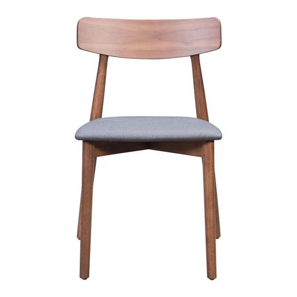 Zuo Modern Newman Dining Chair - 18.3-in - Grey Linen - Set of 2