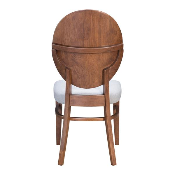 Chaise de salle à manger Regents de Zuo Modern, 18,5 po x 16,9 po, lin gris, ens. de 2