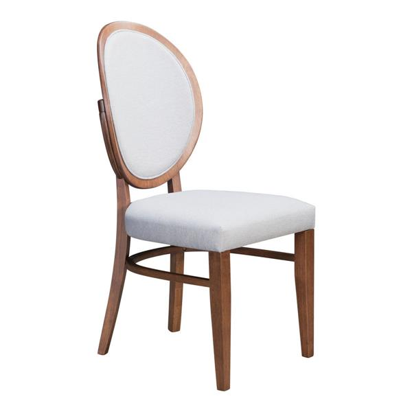Zuo Modern Regents Dining Chair - 18.5-in x 16.9-in - Grey Linen - Set of 2