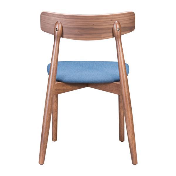 Chaise de salle à manger Newman de Zuo Modern, 18,3 po, lin bleu, ens. de 2