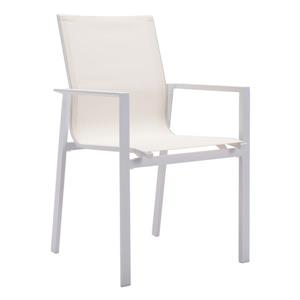 Chaise d'extérieur pour la terrasse Mayakoba de Zuo Modern, blanc, ens. de 4