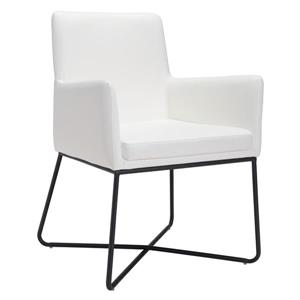 Zuo Modern Axel 18.5-in White Faux Leather Dining Chair