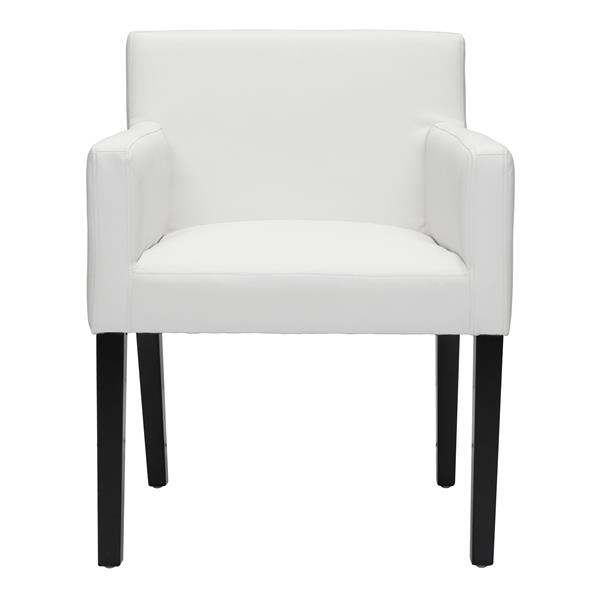 Zuo Modern Franklin Dining Chair - 19.7-in - Faux Leather - White