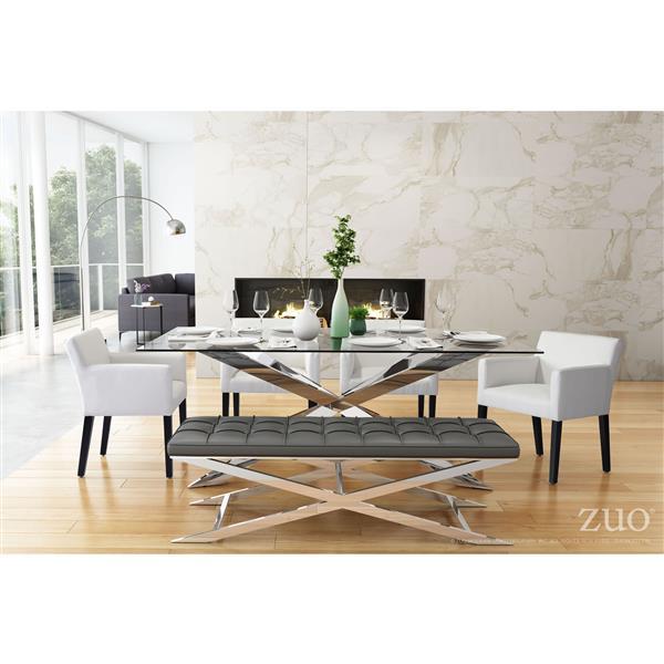 Chaise de salle à manger Franklin de Zuo Modern, 19.7 po, simili-cuir, blanc