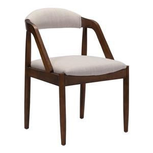 Chaise de salle à manger Jefferson de Zuo Modern, 19,7 po, beige, cèdre rouge
