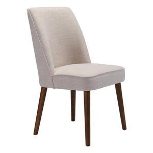 Chaise de salle à manger Kennedy de Zuo Modern, 19,7 po, tissu, beige, ens. de 2