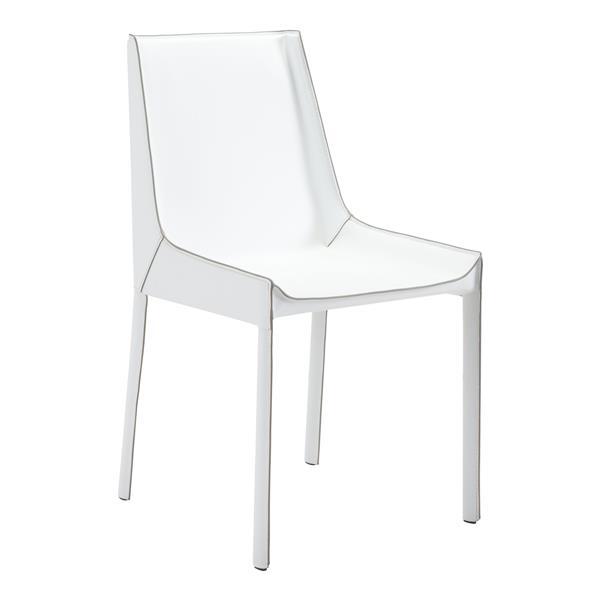 Chaise de salle à manger Fashion de Zuo Modern, 15,7 po x 18,5 po, blanc, ens. de 2