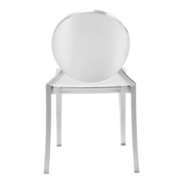 Zuo Modern Eclipse Dining Chair - 18-in x 15-in - Silver - Set of 2