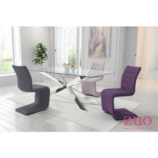 Chaise de salle à manger Hyper de Zuo Modern, 19, po x 18,5 po, beige/gris, ens. de 2
