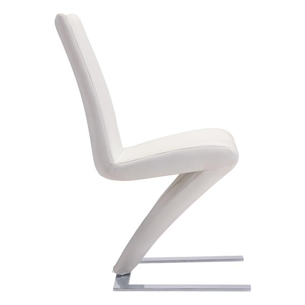 Zuo Modern Herron Dining Chair - 19.3-in x 17.7-in - Faux Leather - White - Set of 2