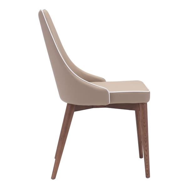 Chaise de salle à manger Moor de Zuo Modern, 18,9 po, beige, ens. de 2