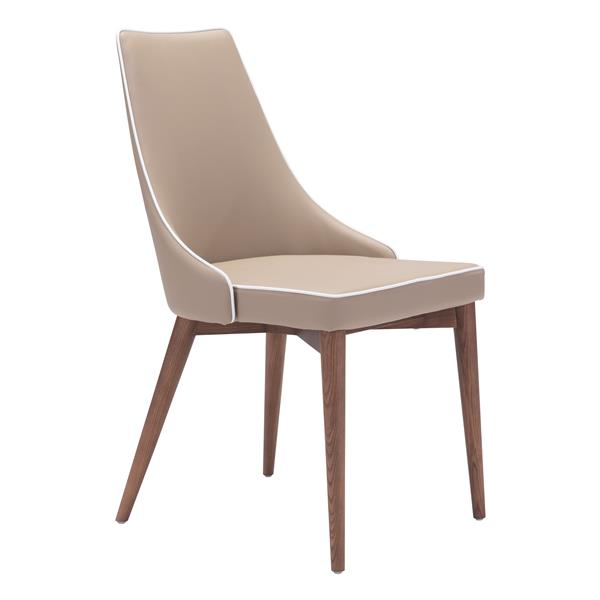 Zuo Modern Moor Dining Chair - 18.9-in - Faux Leather - Beige - Set of 2