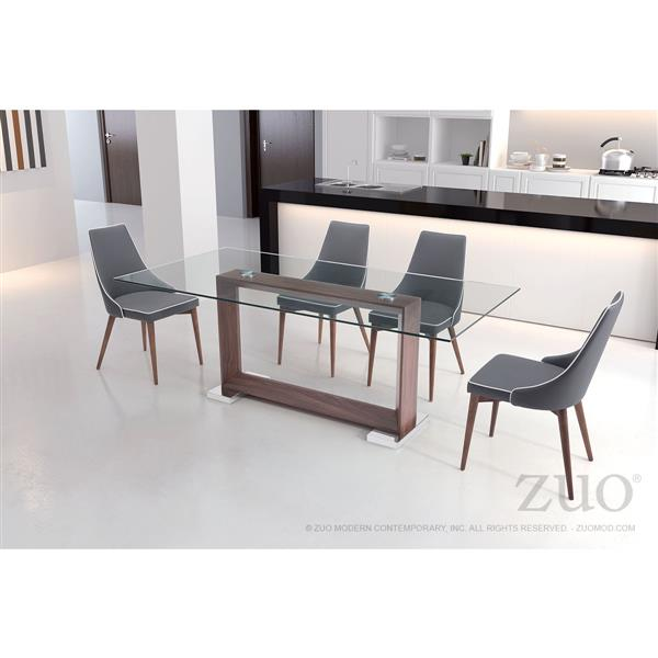 Zuo Modern Moor Dining Chair - 18.9-in - Faux Leather - Grey - Set of 2