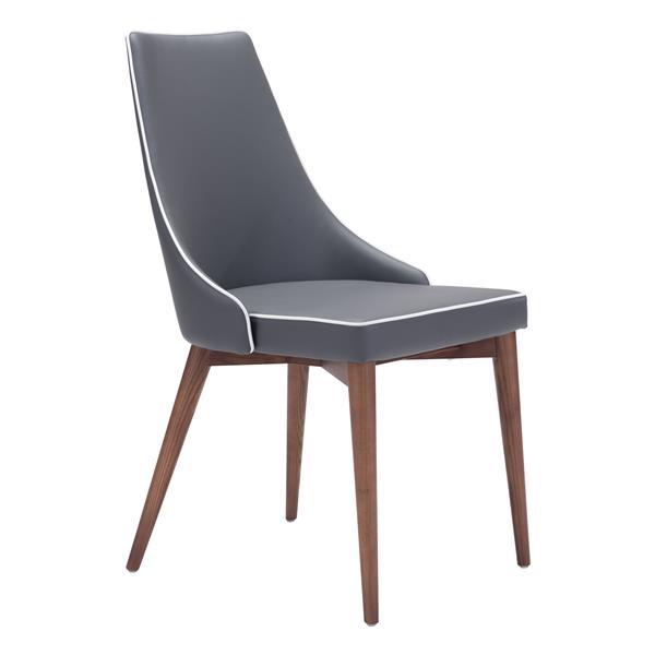 Chaise de salle à manger Moor de Zuo Modern, 18,9 po, gris, ens. de 2