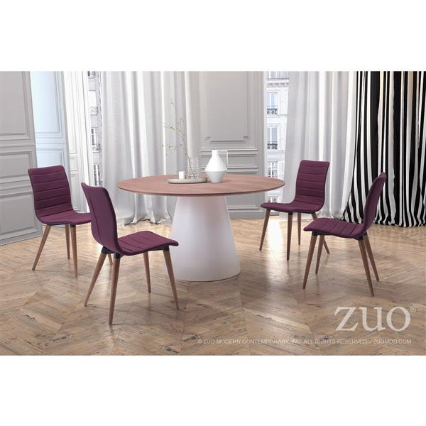 Zuo Modern Jericho Dining Chair - 18.5-in - Fabric - Purple - Set of 2