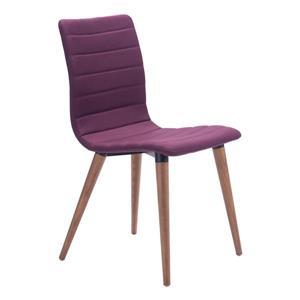 Chaise de salle à manger Jericho de Zuo Modern, 18,5 po, tissu, mauve, ens. de 2
